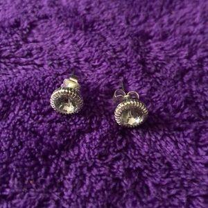 Circle Gem Stud Earrings